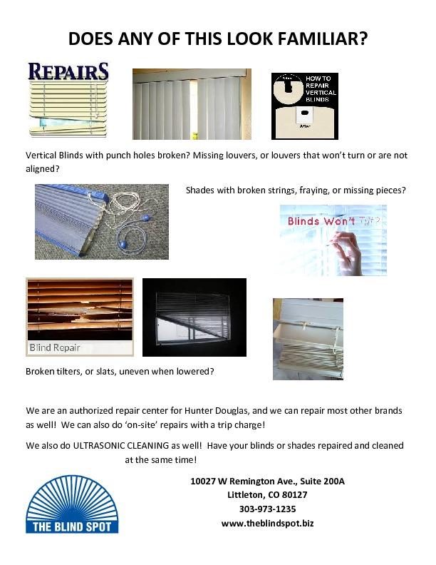 Blind Repairs Custom Window Coverings The Blind Spot